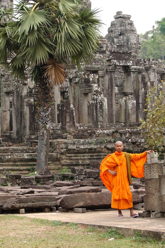 Buddhist monk at Bayon, Temples of Angkor