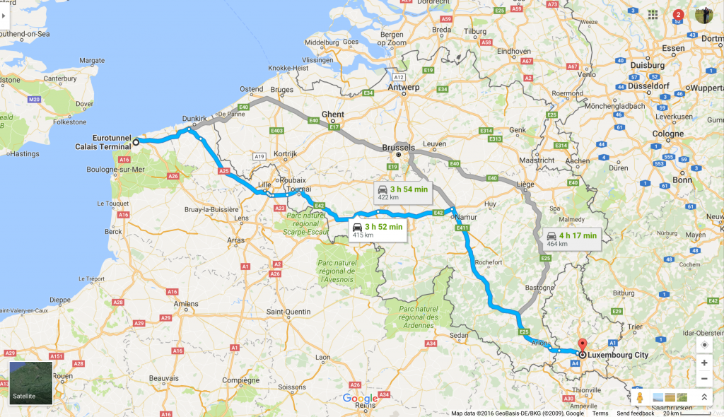 Our route to Pego: from Calais to Luxembourg City