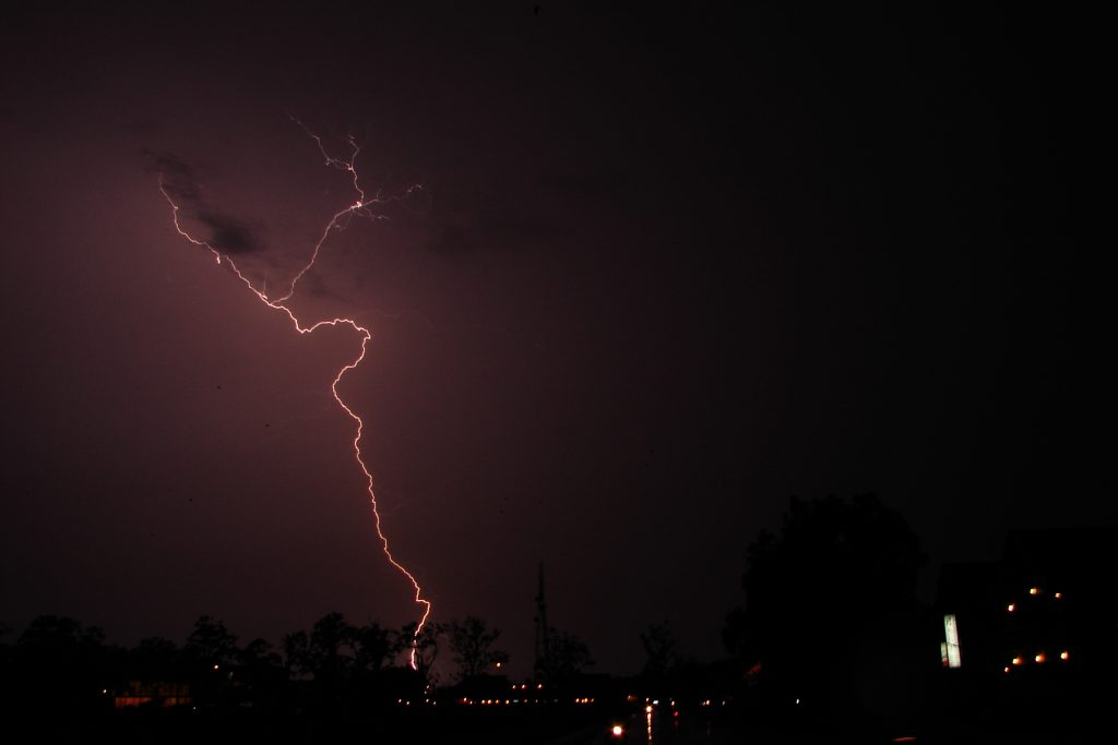 Lightening strikes over Cambodia