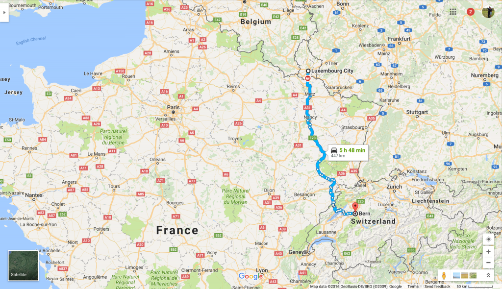 Our route to Pego: from Luxembourg City to Bern