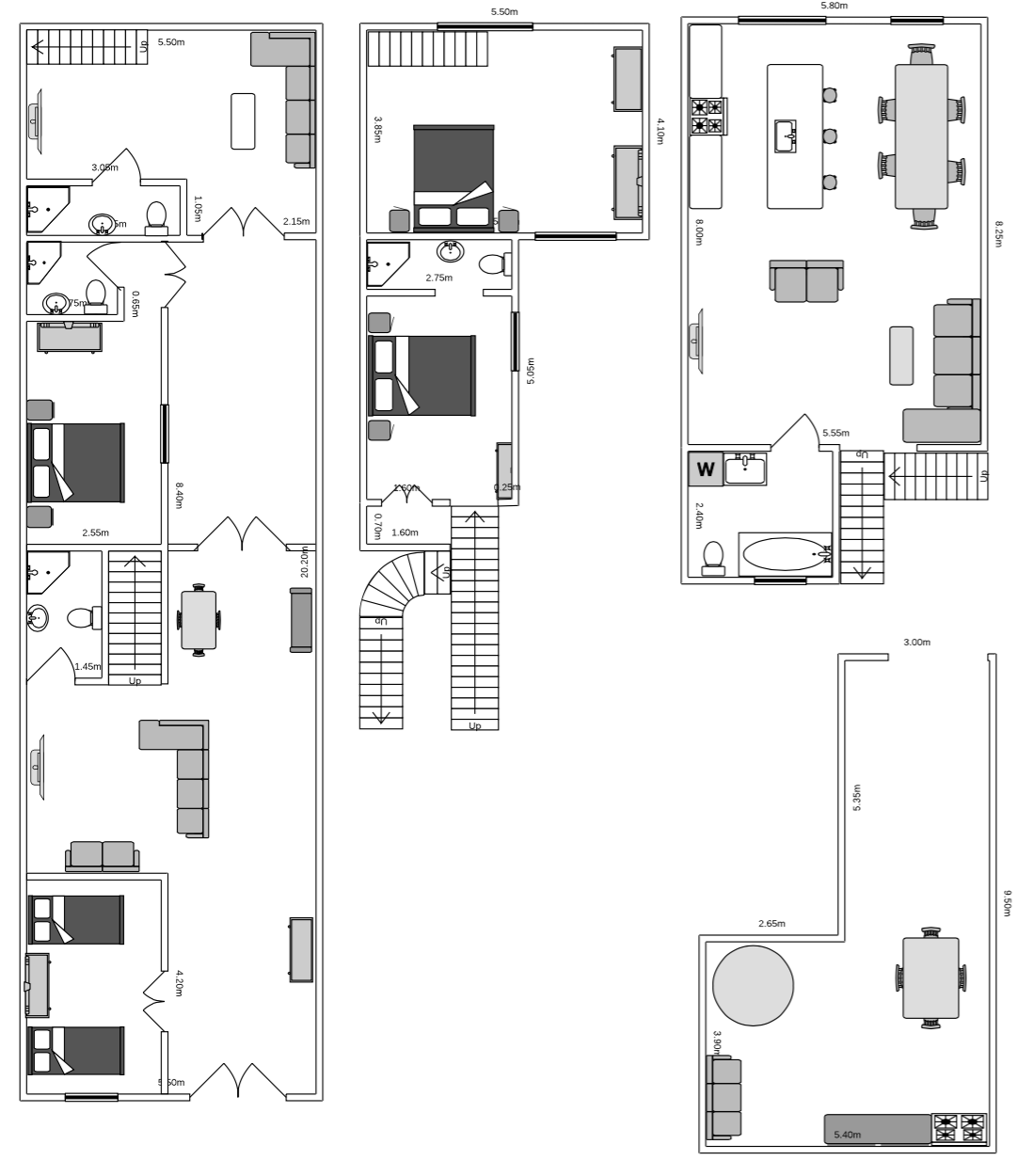 Floor plan for our 3 storey town house in Alicante, Spain