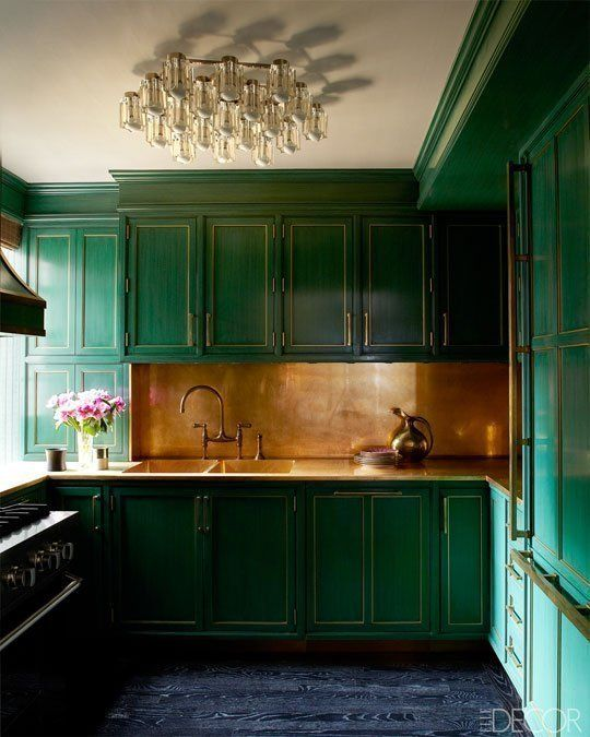 dark green kitchen. image source elledecor.com
