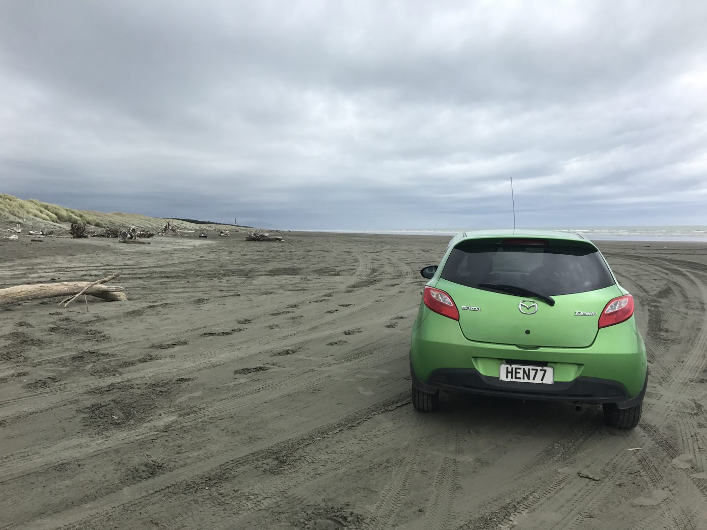 Driving on Waitarere Beach, New Zealand