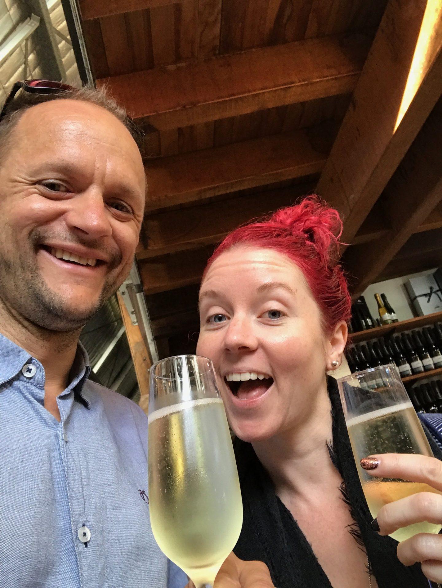 darren and deanne drinking champagne