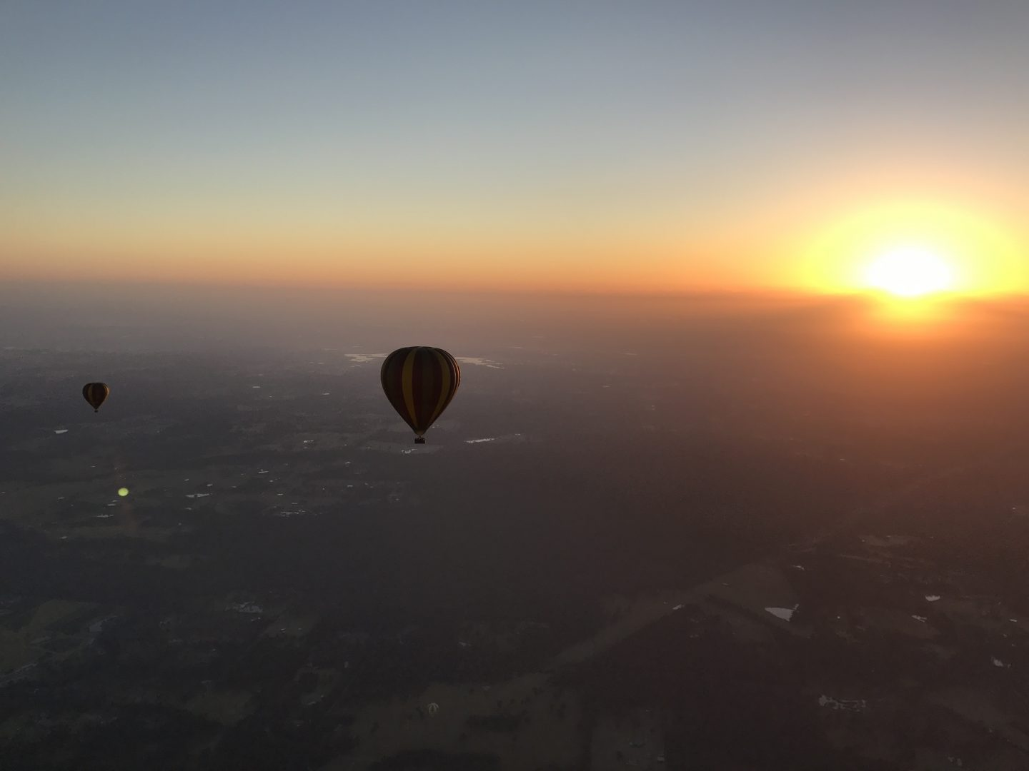 hot air balloon sunrise over the hunter valley