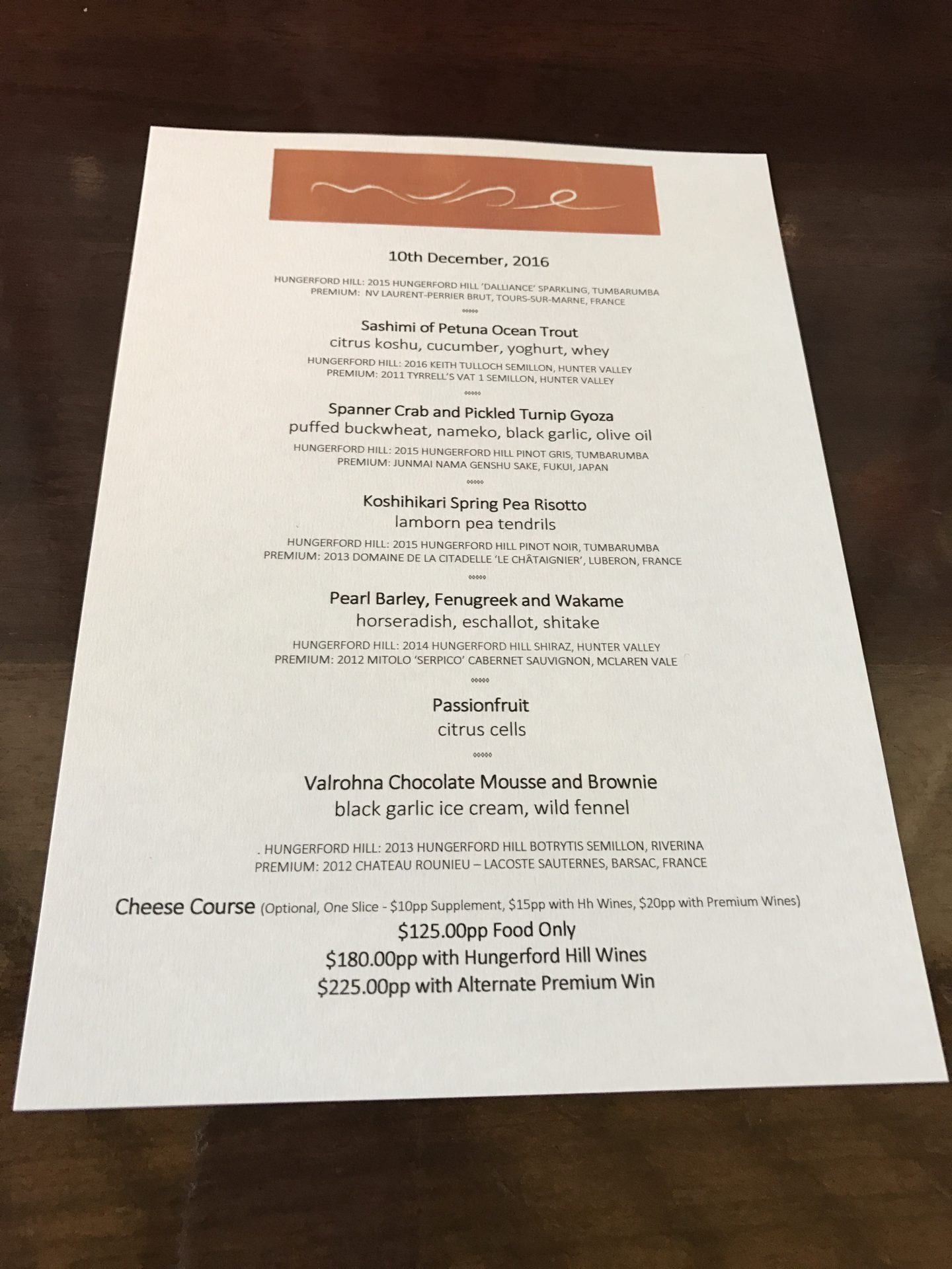 muse hunter valley set menu