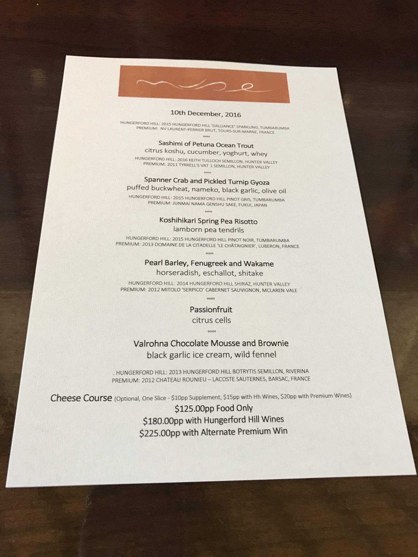 muse hunter valley set menu