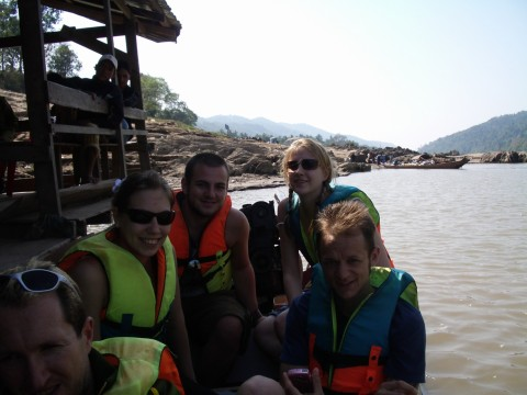 sat on the laos speedboat