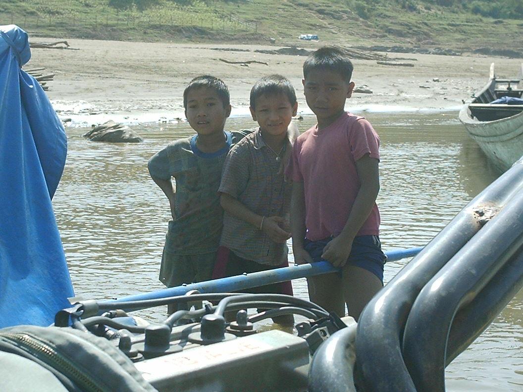 children in laos mekong delta
