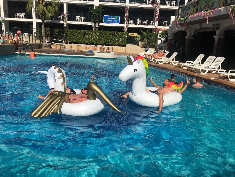 Chilling on a unicorn at Ibiza Rocks Hotel